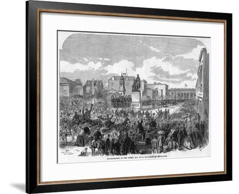 Inauguration of the Burke and Wills Monument at Melbourne, Australia, 1865--Framed Art Print