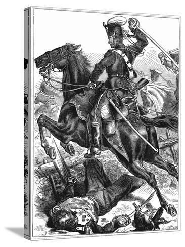 Prussian Hussar Charging with Sword Drawn, Franco-Prussian War 1870-1871--Stretched Canvas Print