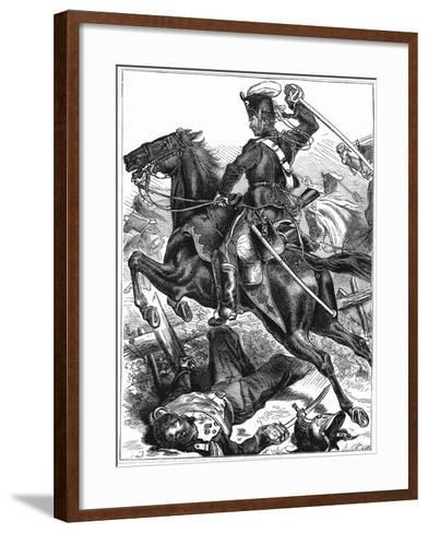Prussian Hussar Charging with Sword Drawn, Franco-Prussian War 1870-1871--Framed Art Print
