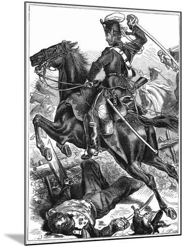 Prussian Hussar Charging with Sword Drawn, Franco-Prussian War 1870-1871--Mounted Giclee Print