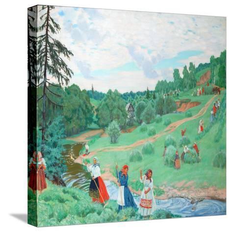 Hay Making, 1917-Boris Michaylovich Kustodiev-Stretched Canvas Print