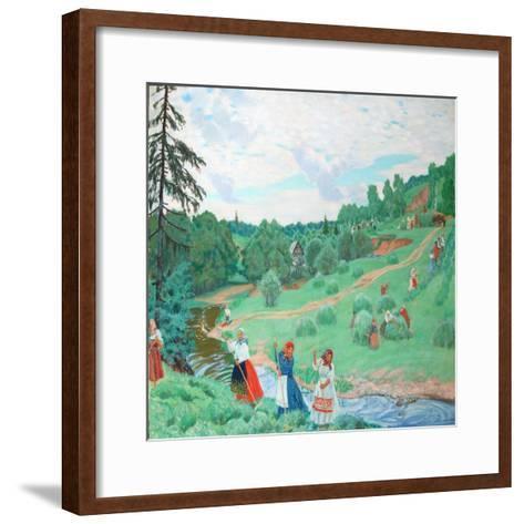 Hay Making, 1917-Boris Michaylovich Kustodiev-Framed Art Print