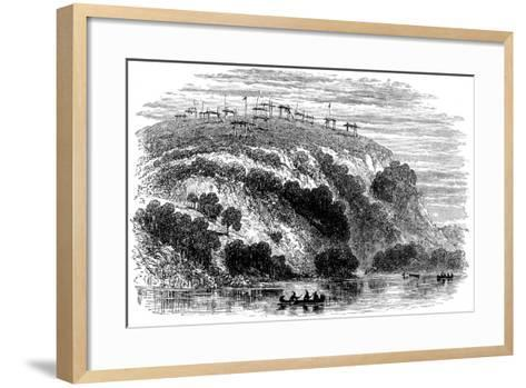Native North American Burial Ground, Showing the Dead on Raised Platforms, 1876--Framed Art Print