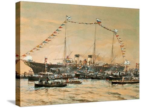 Emperor Nicholas II Visiting His Yacht Polestar, 1908-Alexander Karlovich Beggrov-Stretched Canvas Print