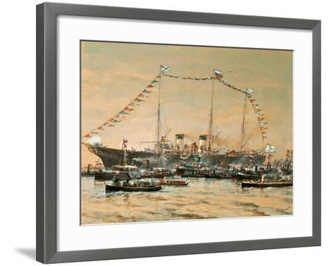 Emperor Nicholas II Visiting His Yacht Polestar, 1908-Alexander Karlovich Beggrov-Framed Art Print