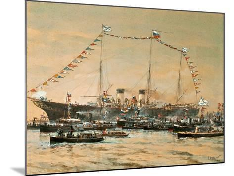Emperor Nicholas II Visiting His Yacht Polestar, 1908-Alexander Karlovich Beggrov-Mounted Giclee Print