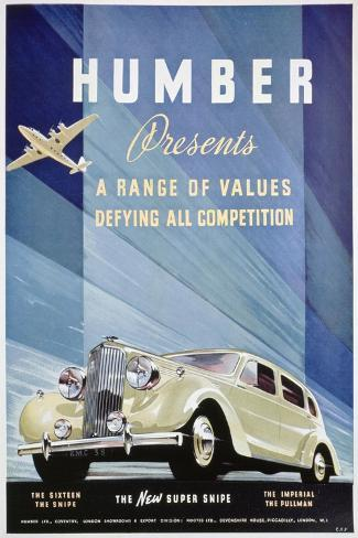Advert for Humber Motor Cars, 1938--Stretched Canvas Print
