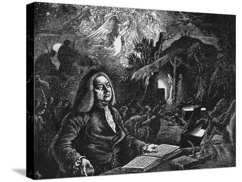 George Frideric Handel (1685-175) Composing His 'Messiah, C18th Century--Stretched Canvas Print