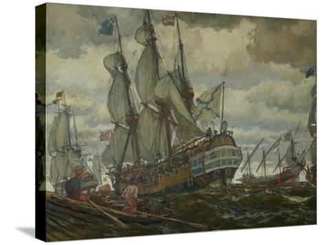 The Fleet of Peter I, 1909-Evgeny Evgenyevich Lanceray-Stretched Canvas Print