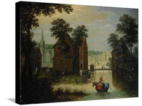 River Landscape with the Flight into Egypt, 1616-Maerten Ryckaert-Stretched Canvas Print