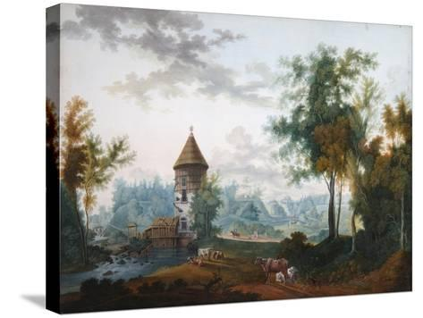 Mill and Pil Tower in Pavlovsk Park, before 1797-Semyon Fyodorovich Shchedrin-Stretched Canvas Print