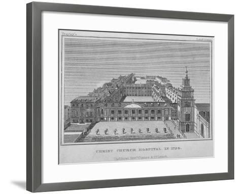 Bird's-Eye View of Christ's Hospital as it Was in 1720, City of London, 1829--Framed Art Print