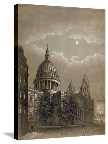 North-East View of St Paul's Cathedral by Moonlight, City of London, 1850--Stretched Canvas Print