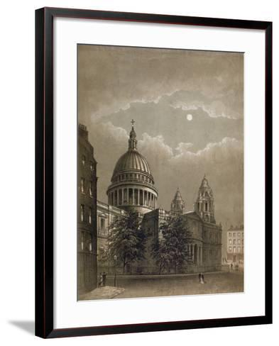 North-East View of St Paul's Cathedral by Moonlight, City of London, 1850--Framed Art Print