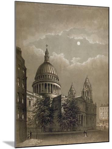 North-East View of St Paul's Cathedral by Moonlight, City of London, 1850--Mounted Giclee Print
