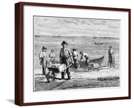 Cape Cod Fisherman Washing Fish, 1875--Framed Art Print