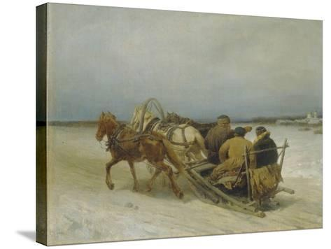 Troika in Winter, 1880S-Pyotr Petrovich Sokolov-Stretched Canvas Print