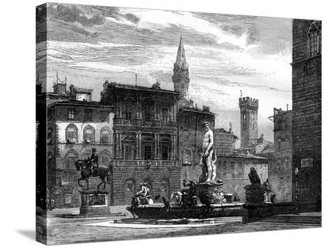 The Fountain of Neptune, Piazza Della Signoria, Florence, Italy, 19th Century--Stretched Canvas Print
