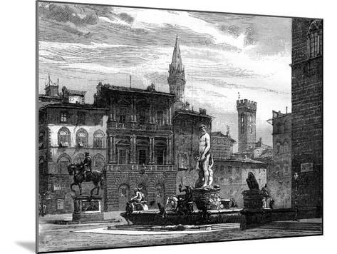 The Fountain of Neptune, Piazza Della Signoria, Florence, Italy, 19th Century--Mounted Giclee Print