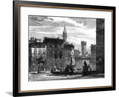 The Fountain of Neptune, Piazza Della Signoria, Florence, Italy, 19th Century--Framed Art Print