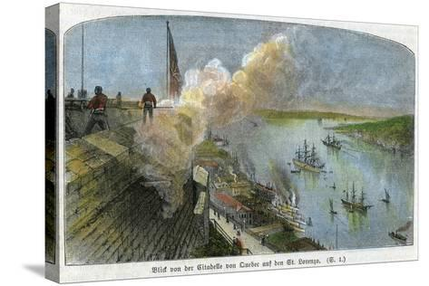 View over the St Lawrence River from the Citadel of Quebec, Canada, C1875--Stretched Canvas Print