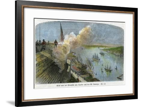 View over the St Lawrence River from the Citadel of Quebec, Canada, C1875--Framed Art Print
