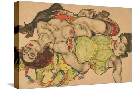 Two Girls Lying Entwined, 1915-Egon Schiele-Stretched Canvas Print