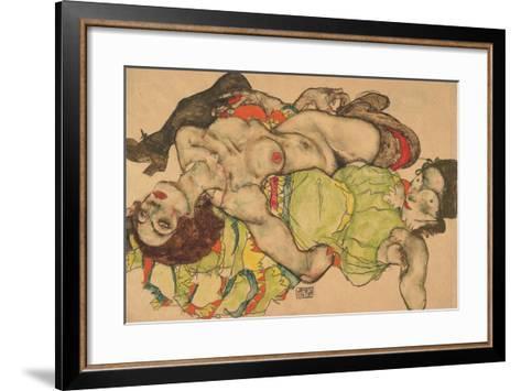 Two Girls Lying Entwined, 1915-Egon Schiele-Framed Art Print