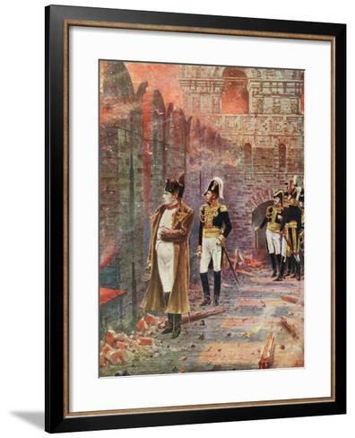 Napoleon and His Staff Watching the Burning of Moscow, 1812--Framed Art Print