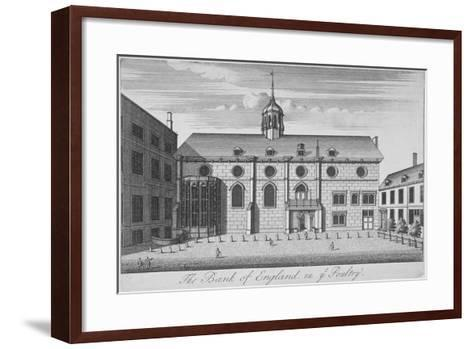 View of Grocers' Hall at Time it Housed Bank of England, City of London, 1730--Framed Art Print