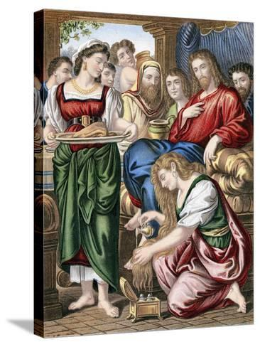 Mary Magdalene Anointing the Feet of Jesus, C1860--Stretched Canvas Print