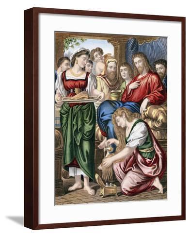 Mary Magdalene Anointing the Feet of Jesus, C1860--Framed Art Print