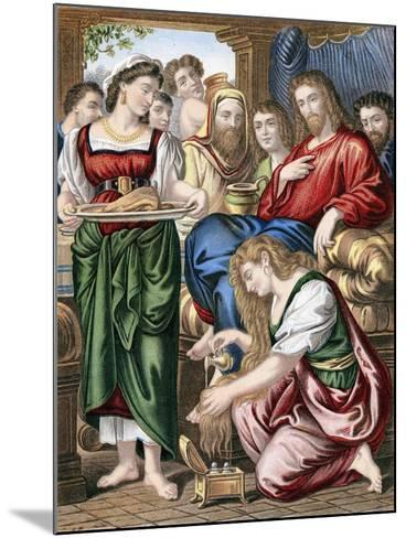 Mary Magdalene Anointing the Feet of Jesus, C1860--Mounted Giclee Print