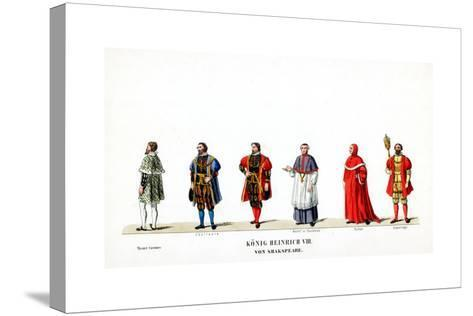 Theatre Costume Designs for Shakespeare's Play, Henry VIII, 19th Century--Stretched Canvas Print