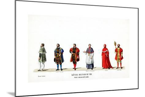 Theatre Costume Designs for Shakespeare's Play, Henry VIII, 19th Century--Mounted Giclee Print
