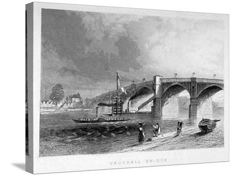 View of Vauxhall Bridge with a Steamboat on the Thames, London, C1847--Stretched Canvas Print