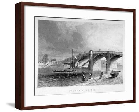 View of Vauxhall Bridge with a Steamboat on the Thames, London, C1847--Framed Art Print