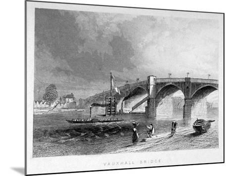 View of Vauxhall Bridge with a Steamboat on the Thames, London, C1847--Mounted Giclee Print