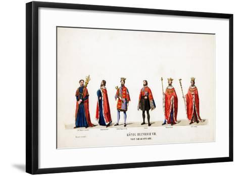 Theatre Costume Designs for Shakespeare's Play, Henry VIII, 19th Century--Framed Art Print