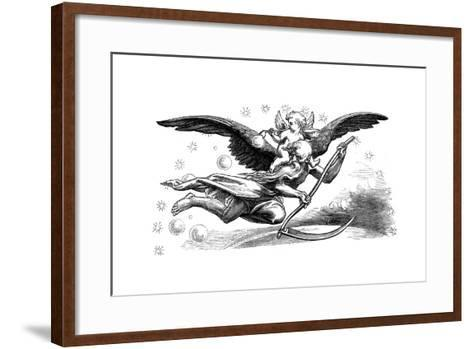 Old Father Time with His Scythe, Carrying in the New Year, 1870--Framed Art Print