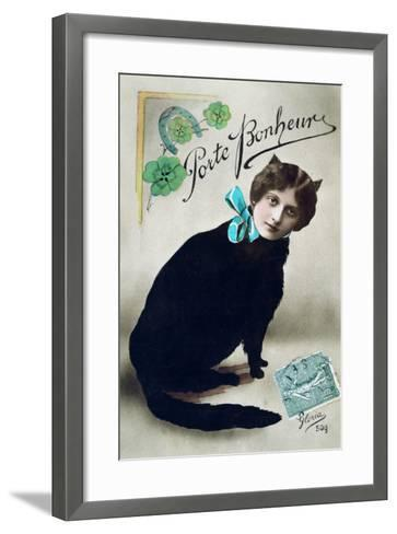 Carry Happiness, French Postcard, C1900--Framed Art Print