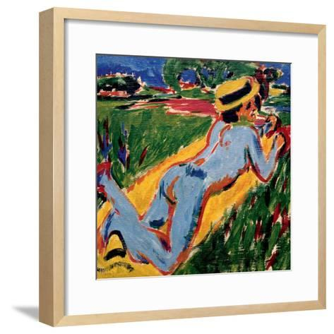 Recycling Blue Nude in a Straw Hat, 1909-Ernst Ludwig Kirchner-Framed Art Print