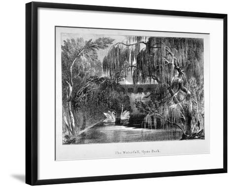 View of a Waterfall and Two Swans in Hyde Park, London, C1820--Framed Art Print