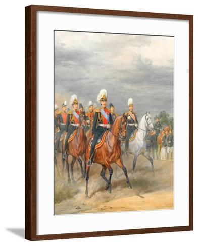Officers of the Cavalry Mounted Regiment-Karl Karlovich Piratsky-Framed Art Print