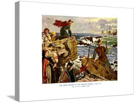 The Danes Sailing Up the English Channel, C877 Ad-Herbert A Bone-Stretched Canvas Print