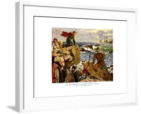 The Danes Sailing Up the English Channel, C877 Ad-Herbert A Bone-Framed Art Print