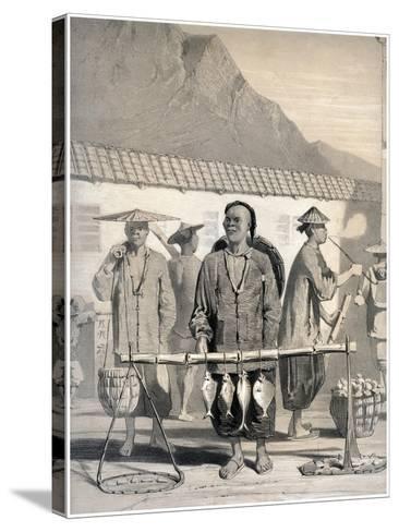 Fishmongers, Victoria Street, Hong Kong, China, 19th Century-M & N Hanhart-Stretched Canvas Print