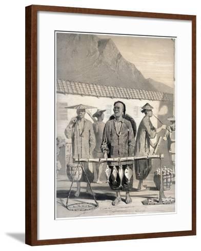 Fishmongers, Victoria Street, Hong Kong, China, 19th Century-M & N Hanhart-Framed Art Print
