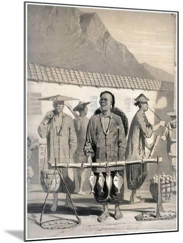 Fishmongers, Victoria Street, Hong Kong, China, 19th Century-M & N Hanhart-Mounted Giclee Print