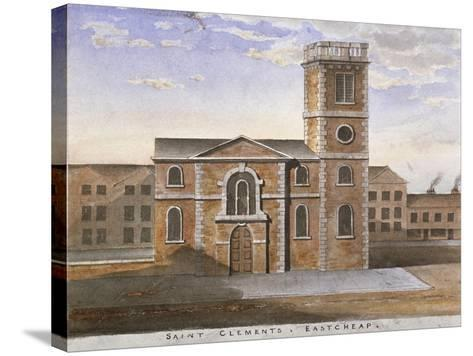 South View of the Church of St Clement, Eastcheap, City of London, 1820--Stretched Canvas Print